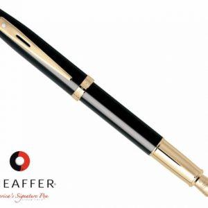 9322 Sheaffer Sh100 Glossy Black Featuring Gold Trim Fountain Pen